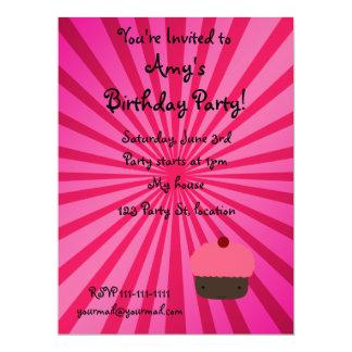"Pink sunburst cupcake invitations 6.5"" x 8.75"" invitation card"