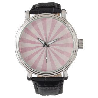 Pink Sunburst Starburst Vintage Rustic Burst Print Wrist Watches