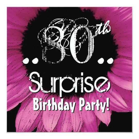 Pink Sunflower 80th Surprise Birthday Template Card