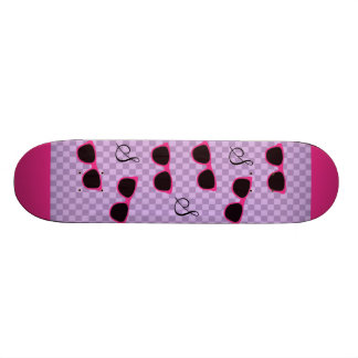 Pink Sunglasses and Purple Checkered Background Skate Board Decks