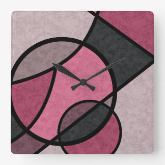Pink sunrise , abstract square wall clock