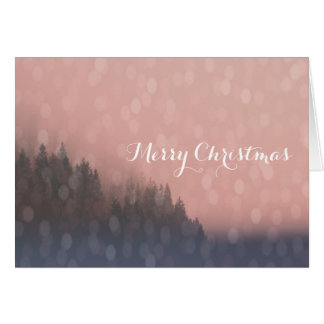 Pink Sunrise Frost Trees Forest Landscape Fog Card