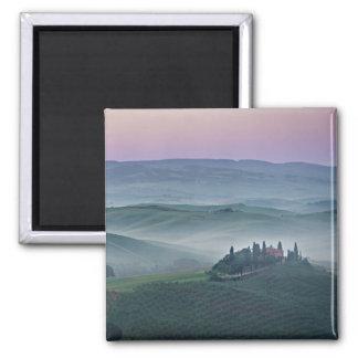 Pink sunrise over a Tuscany landscape Square Magnet