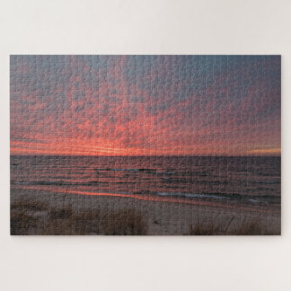 Pink Sunset in December on Lake Michigan Jigsaw Puzzle
