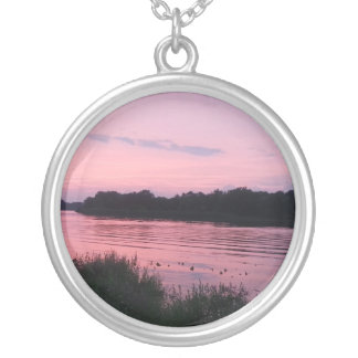 Pink Sunset Round Pendant Necklace
