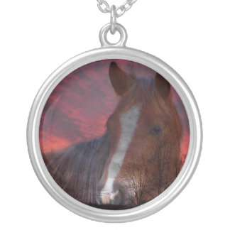 Pink sunset with shadow of horse round pendant necklace