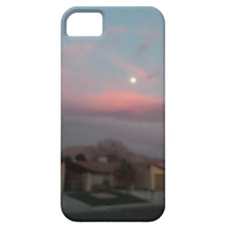 Pink sunset with the moon iPhone 5 covers