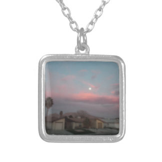 Pink sunset with the moon personalized necklace