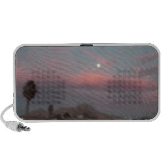 Pink sunset with the moon iPod speaker