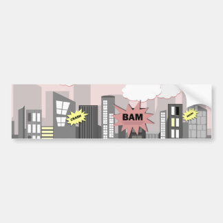 Pink Super Hero City Bumper Sticker