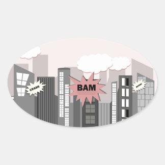 Pink Super Hero City Oval Sticker