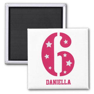 Pink Superstar 6 Birthday Magnet