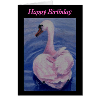 Pink Swan aceo Birthday Card