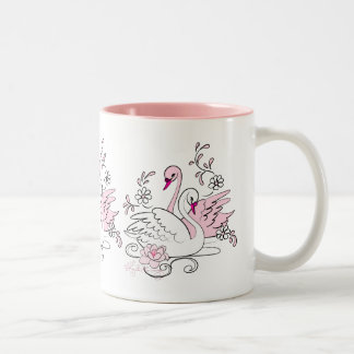 Pink swan With White Swan Two-Tone Coffee Mug
