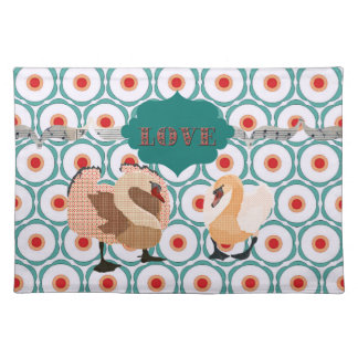 Pink Swanky Swans  Retro Love Placemat