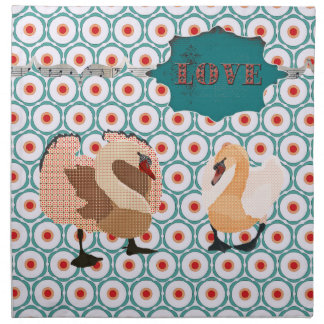 Pink Swanky Swans Retro Turqoise & Red Love Napkin
