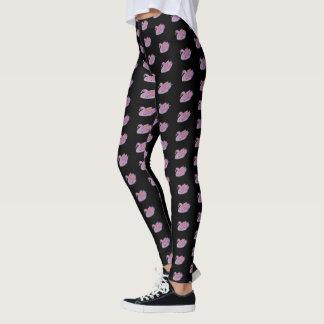 Pink Swans /Black - Leggings