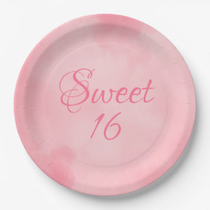 Pink Sweet 16 Birthday Paper Plate