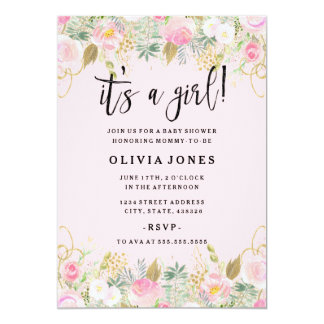 Pink Sweet Floral Its a Girl Baby Shower Invite