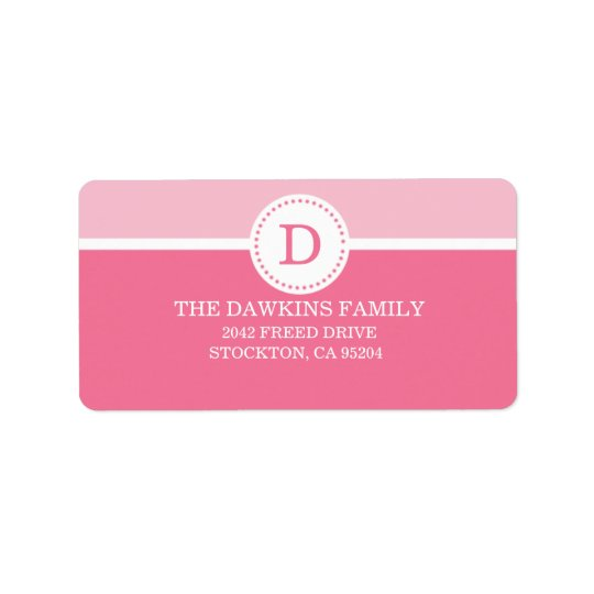 Pink Sweet Monogram Custom Monogrammed Family Address Label