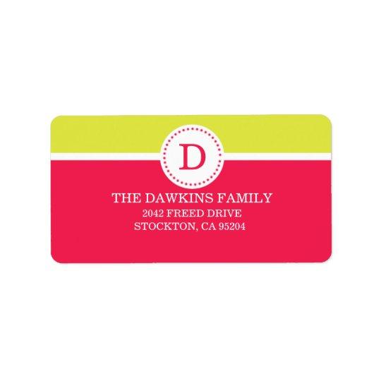 Pink Sweet Monogram Custom Monogrammed Family Label