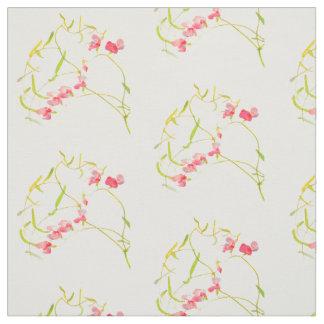 Pink Sweet Pea Flower Pattern Fabric