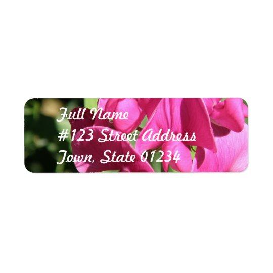 Pink Sweet Pea Mailing Label Return Address Label