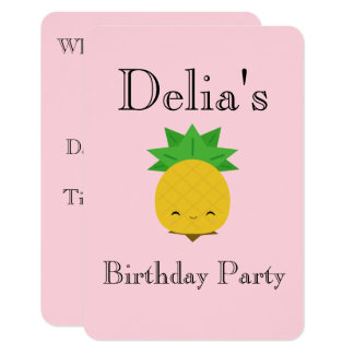 Pink sweet pineapple custom invitations