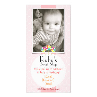Pink Sweet Shop Lollipop Birthday Party Invitation Custom Photo Card