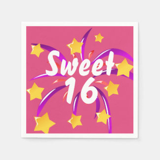 Pink Sweet Sixteen 16 Paper Napkins with Fireworks