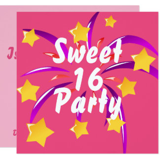 Pink Sweet Sixteen 16 Party Invitation w Fireworks