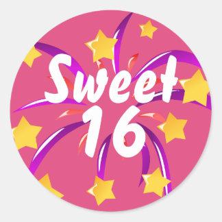 Pink Sweet Sixteen 16 Sticker w Fireworks & Stars
