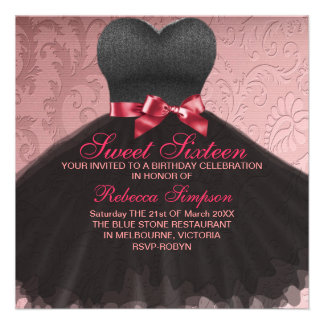 Pink Sweet Sixteen Black Dress Birthday Invitation