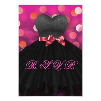 Pink Sweet Sixteen Black Dress Birthday RSVP Card
