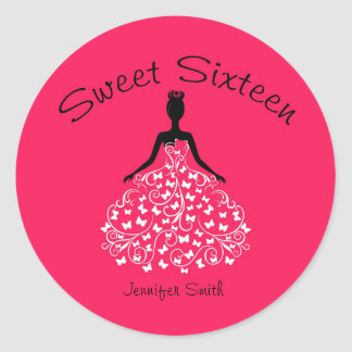 Pink Sweet Sixteen Butterfly Gown Envelope Seals Round Sticker