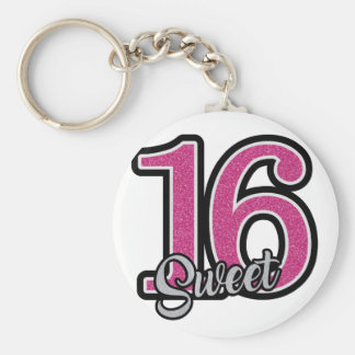 Pink Sweet Sixteen Key Ring