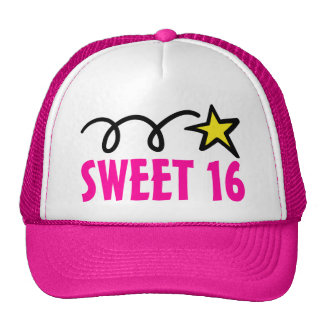 Pink sweet sixteen party hat for 16th birthday