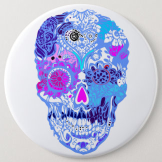 Pink, sweet  skull with flowers No3 6 Cm Round Badge