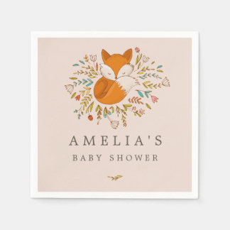 Pink Sweet Woodland Fox Baby Shower Napkin Disposable Serviette