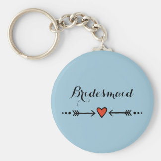 Pink Sweethearts & Arrows Blue Bridesmaid's Gift Basic Round Button Key Ring