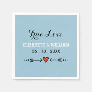 Pink Sweethearts & Arrows Blue Wedding True Love Paper Napkin