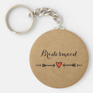 Pink Sweethearts & Arrows Rustic Bridesmaid's Gift Key Ring
