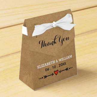 Pink Sweethearts & Arrows Rustic Wedding Thank You Favour Box