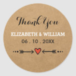 Pink Sweethearts & Arrows Rustic Wedding Thank You Round Sticker