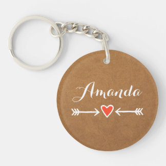 Pink Sweethearts & Arrows White Bridesmaid's Gift Double-Sided Round Acrylic Key Ring
