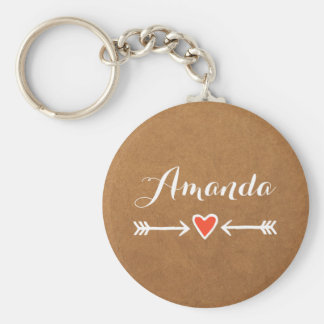 Pink Sweethearts & Arrows White Bridesmaid's Gift Basic Round Button Key Ring