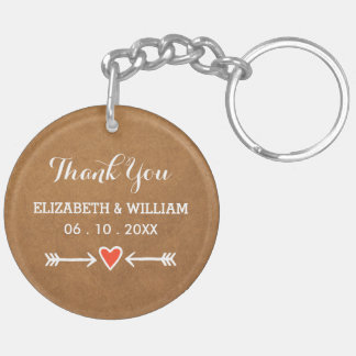 Pink Sweethearts & Arrows White Thank You Double-Sided Round Acrylic Key Ring