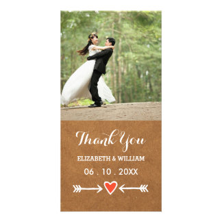 Pink Sweethearts & Arrows White Wedding Thank You Personalised Photo Card