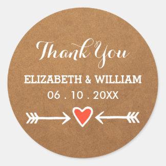 Pink Sweethearts & Arrows White Wedding Thank You Round Sticker
