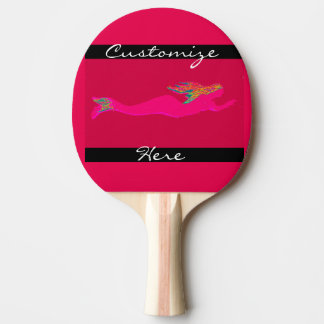 pink swimming mermaid ping pong paddle